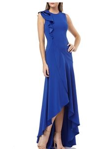 Carmen Marc valvo royal blue ruffle cocktail gown